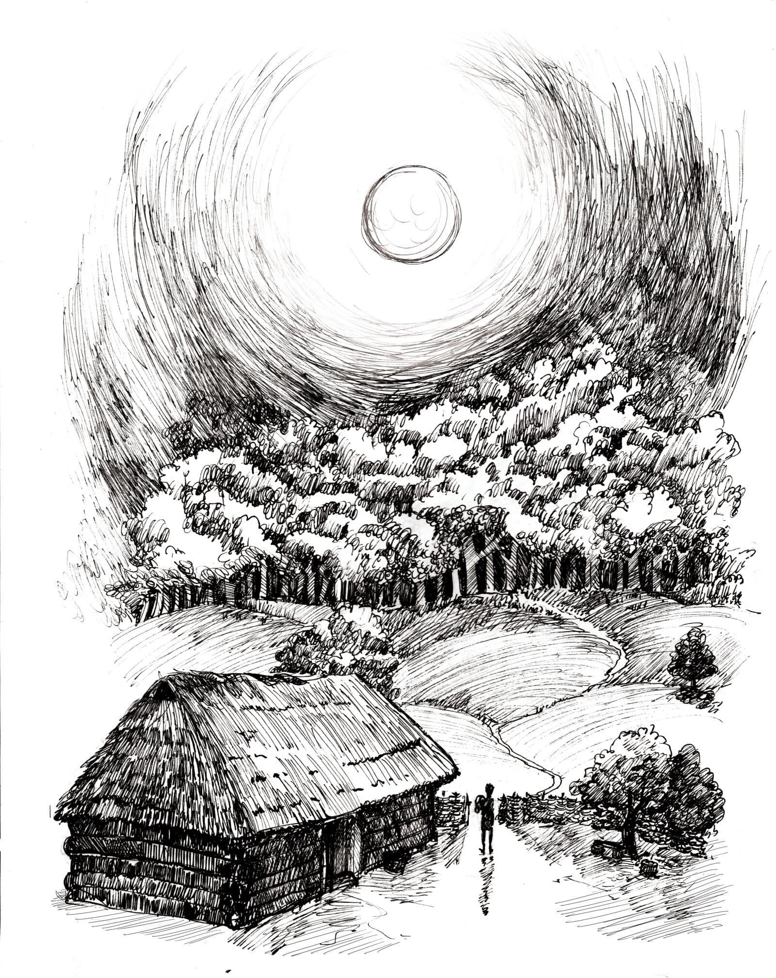 Noc między Tam i Tu - Marta Krajewska - ilustracja b&w 03
