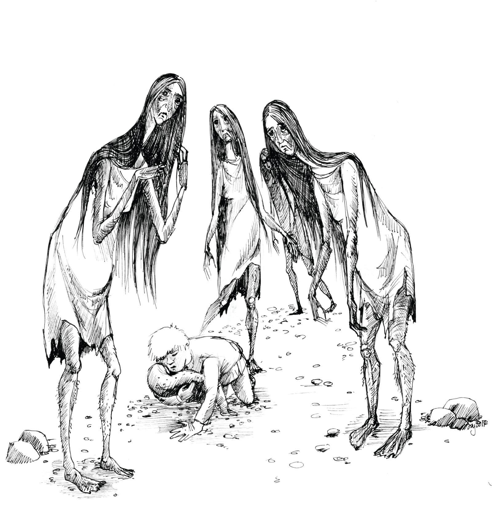 Noc między Tam i Tu - Marta Krajewska - ilustracja b&w 04